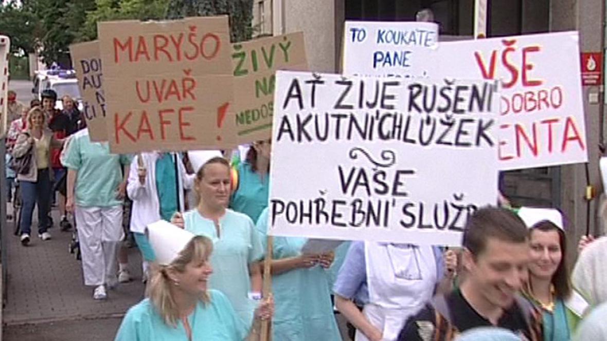 Protestní pochod opočenských zdravotníků