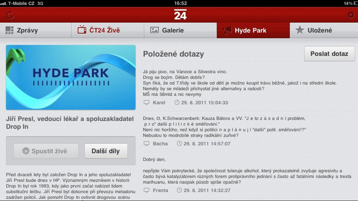 Interaktivní Hyde Park na iPadu