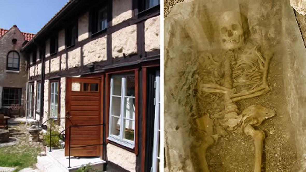 Dům ve Visby s kostrou ve sklepě