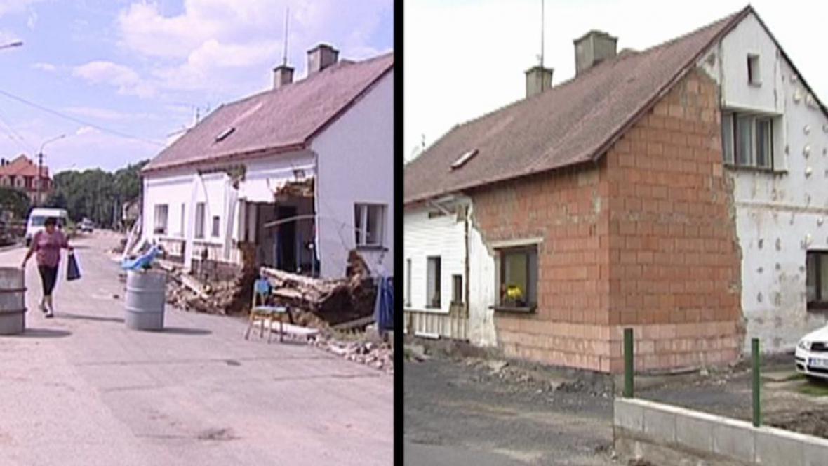 Oprava poničeného domu v Raspenavě