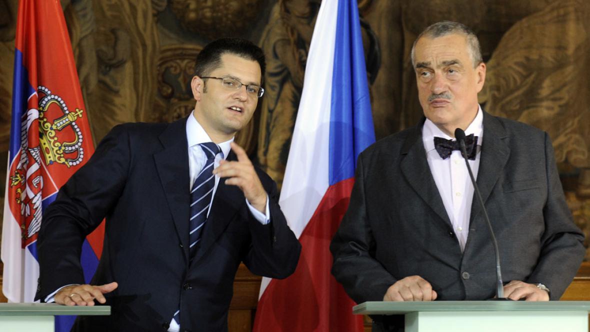 Ministři zahraničí Karel Schwarzenberg a Vuk Jeremič