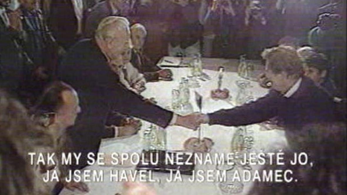 Setkání Havel Adamec v roce 1989