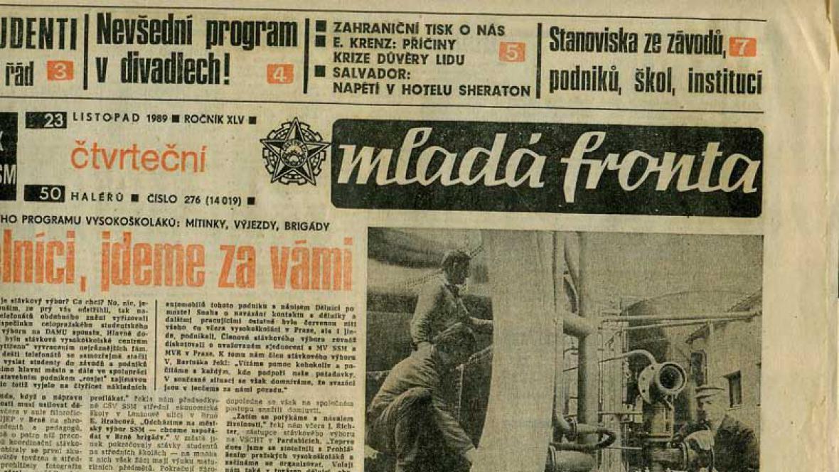 Deník Mladá fronta v roce 1989