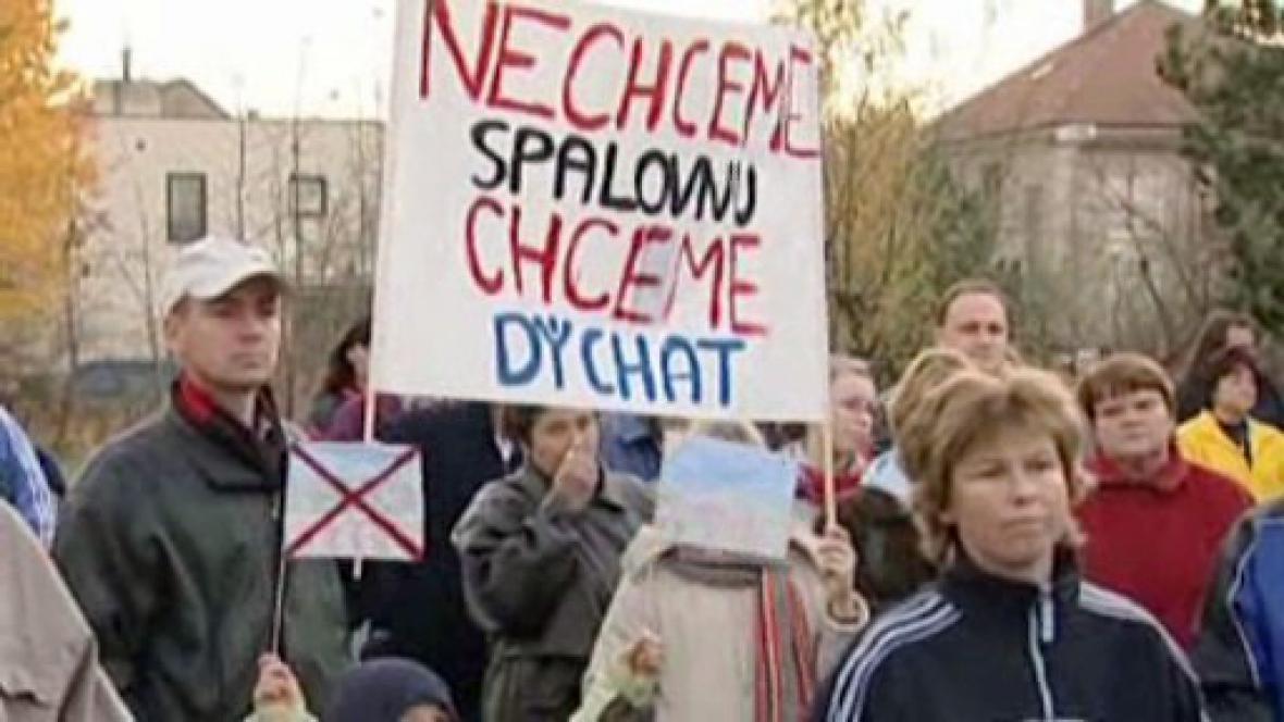 Protest proti výstavbě spalovny