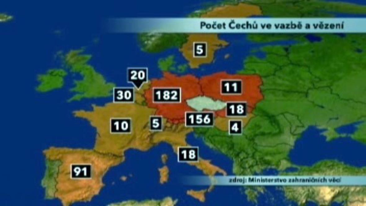 Počet Čechů ve vazbě (Evropa)