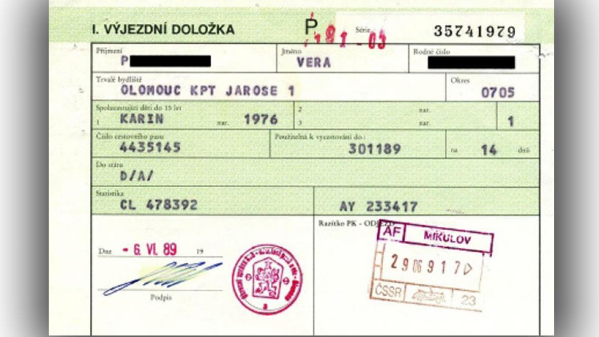 Výjezdní doložka 1989