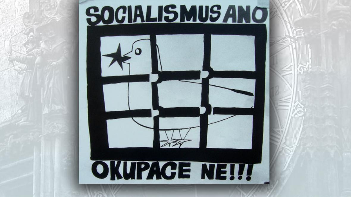 Plakát proti srpnové okupaci