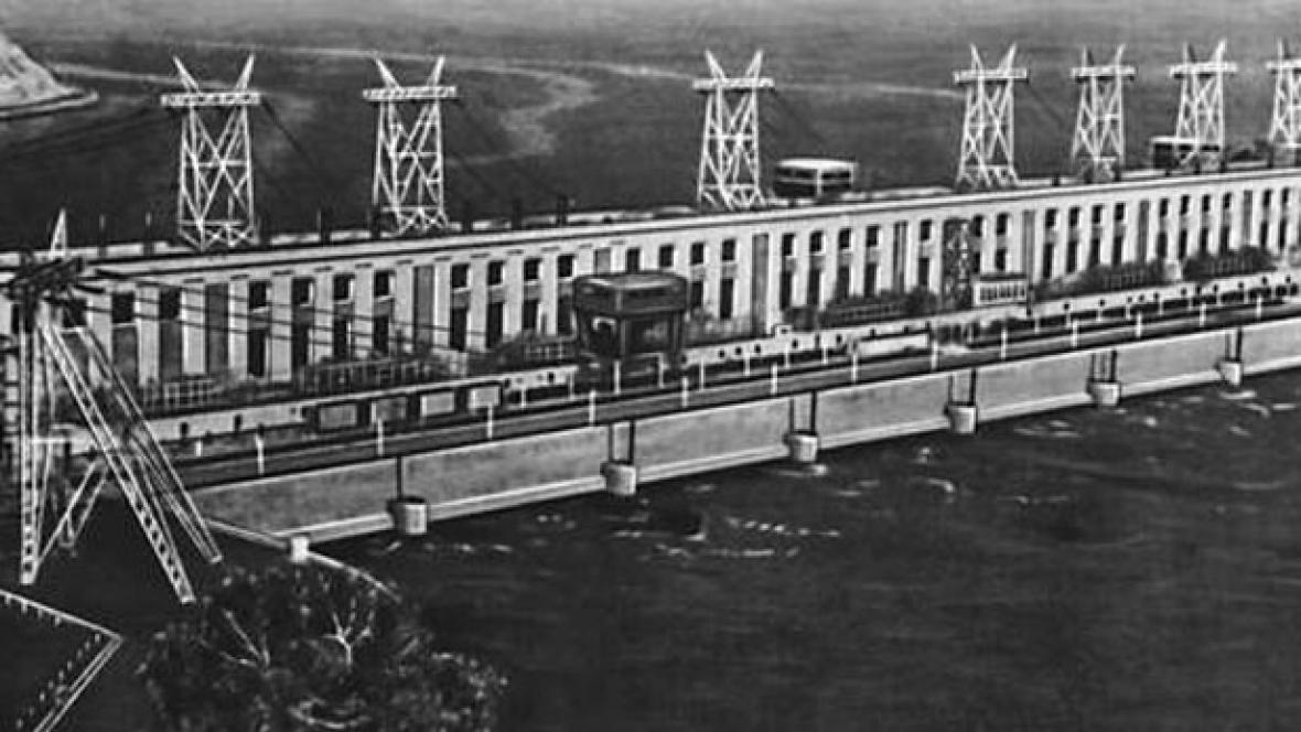 Stavba Kujbyševské vodní elektrárny