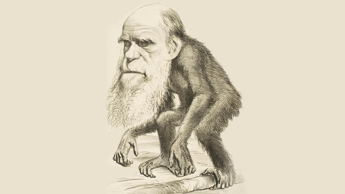 Karikatura Charlese Darwina