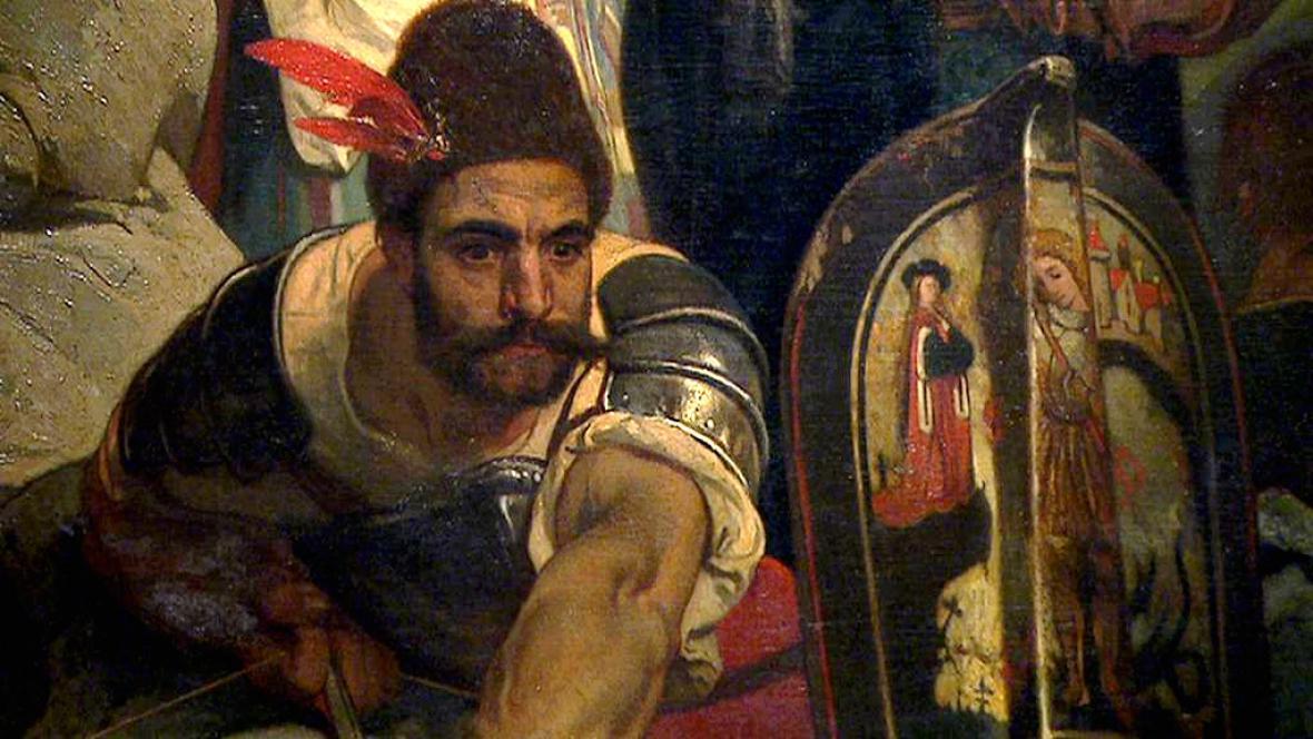 Detail z obrazu Jaroslava Čermáka Husité průsmyk bránící