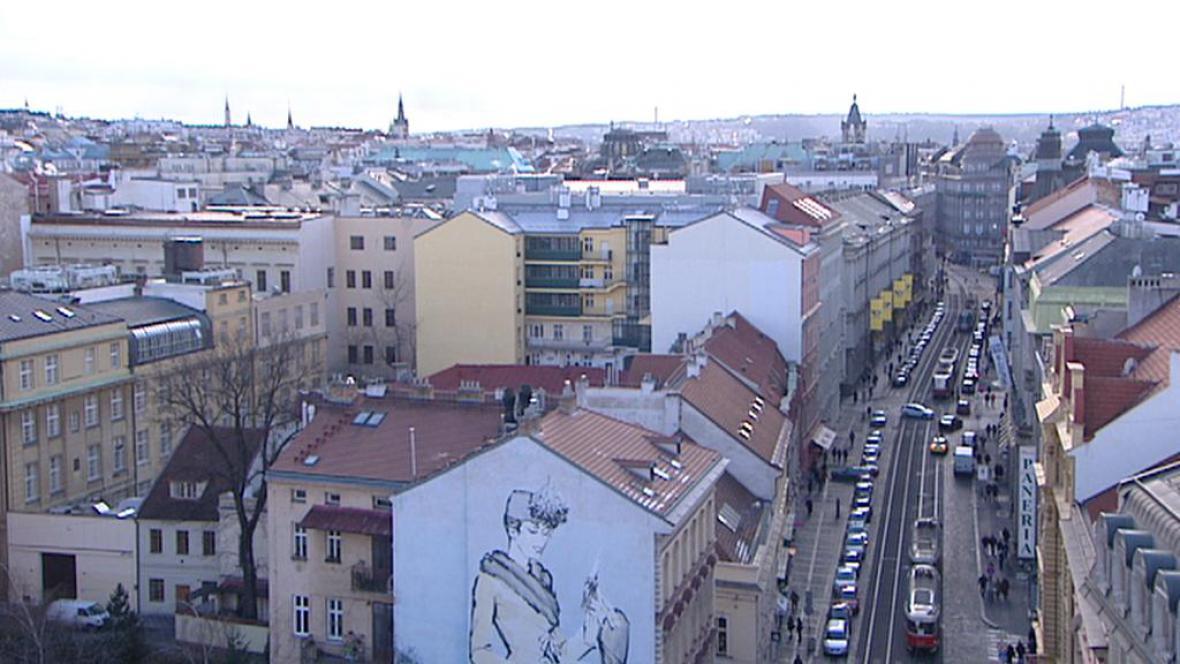 Pohled z Jindřišské věže směrem k Václavskému náměstí
