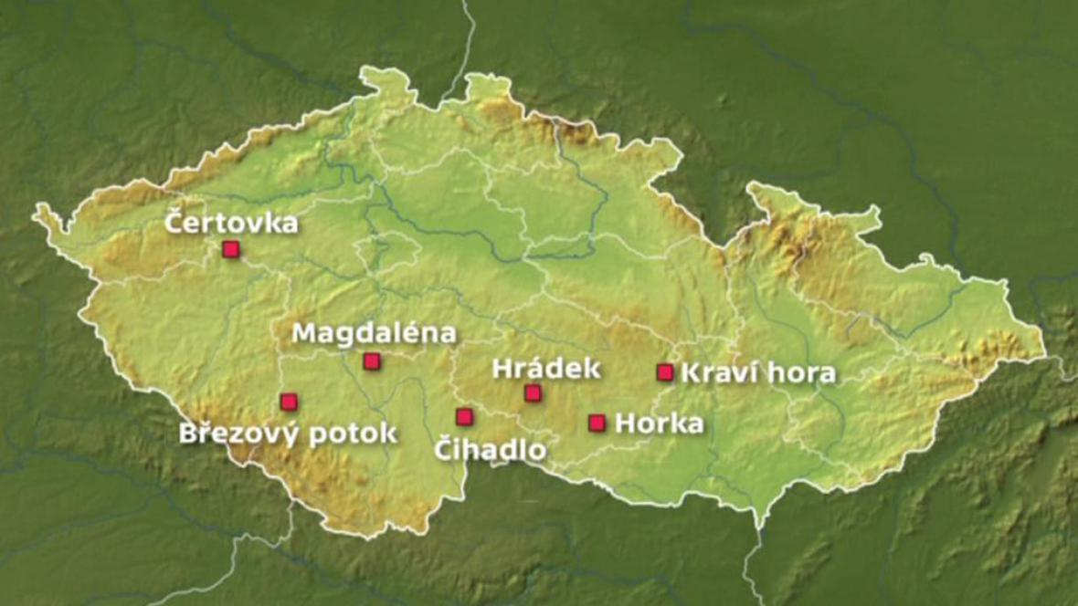 Vytipované lokality pro úložiště jaderného odpadu