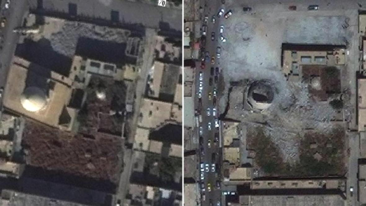 Satelitní snímky ukazují zničené mosulské památky