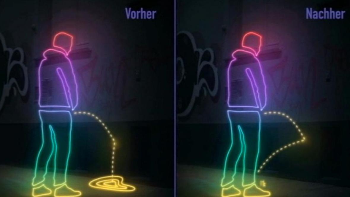 Animace proudu moči dříve (vlevo) a nyní - s použitím speciálního laku (vpravo)