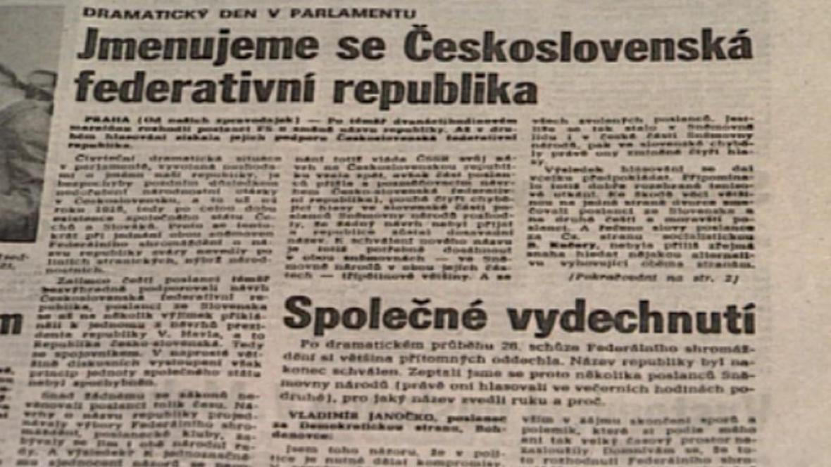 Pomlčková válka předznamenala konec Československa