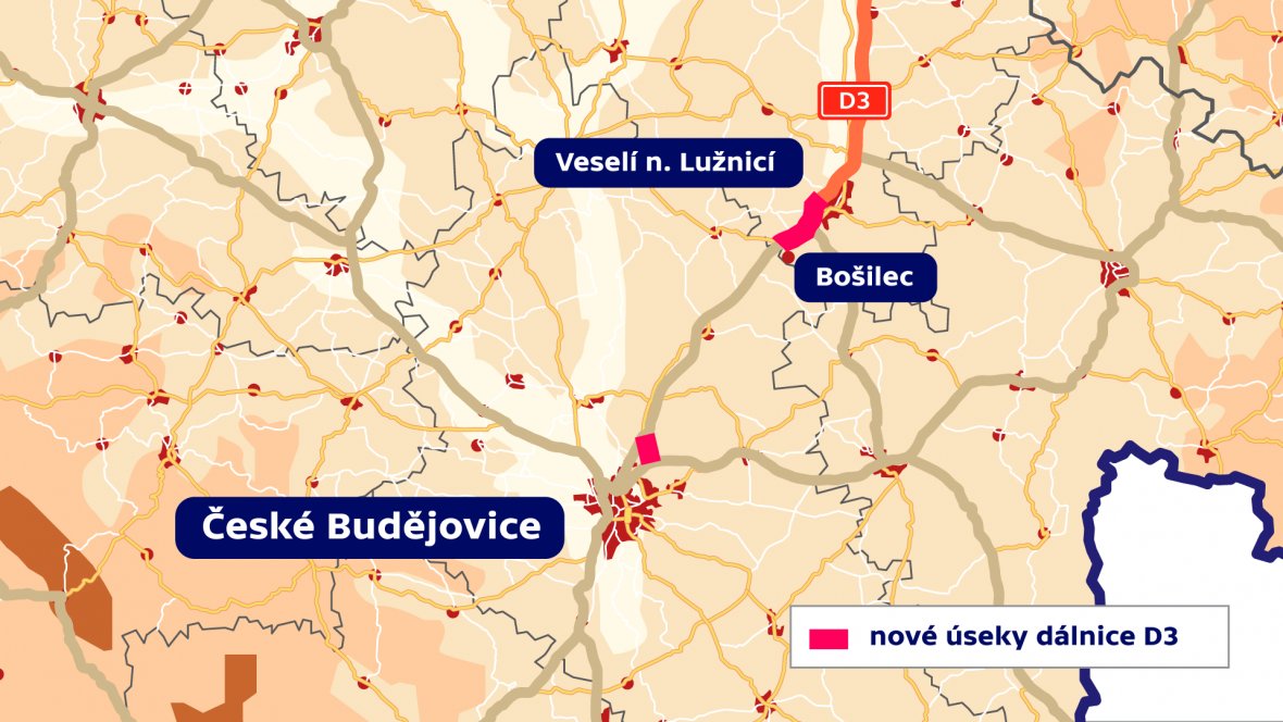 Nové úseky dálnice D3