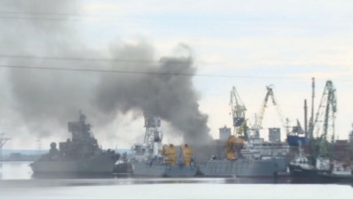 Požár ponorky v ruském přístavu Severodvinsk