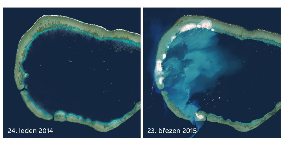 Útes Mischief Reef, který Čína zasypává pískem
