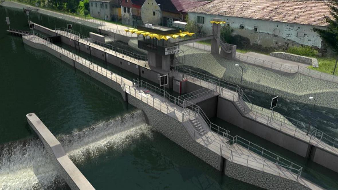 Vizualizace plavební komory v Hněvkovicích
