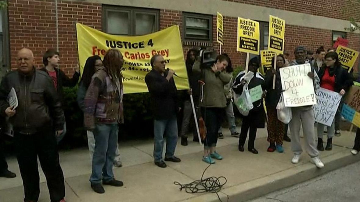 Protesty ve městě Baltimore ve státě Maryland