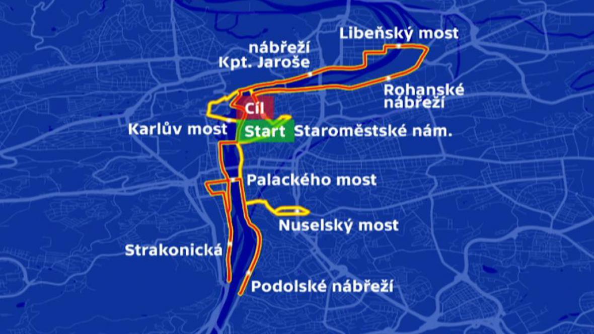 Trasa 21. ročníku Mezinárodního pražského maratonu
