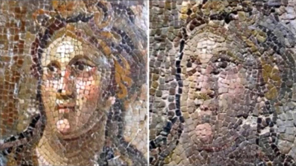 Poničené římské mozaiky