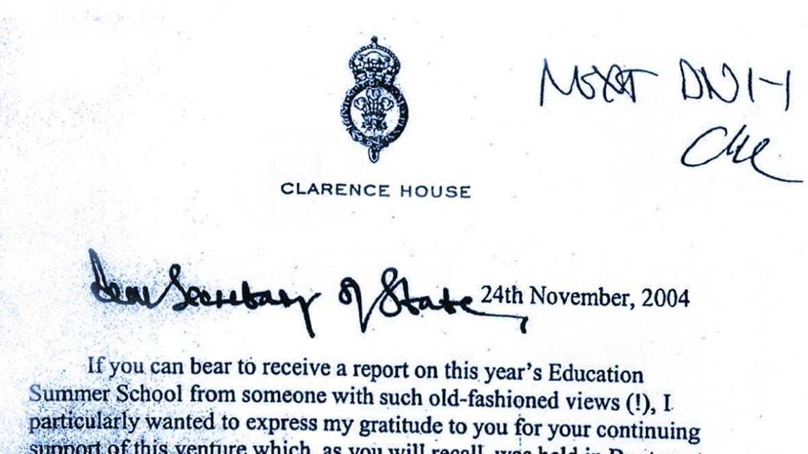 Dopis prince Charlese ministrovi školství