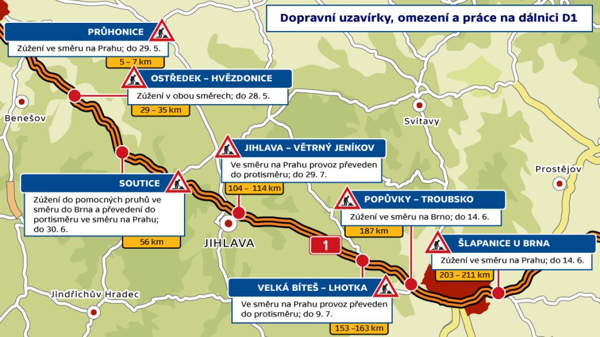 Dopravní uzavírky, omezení a práce na dálnici D1