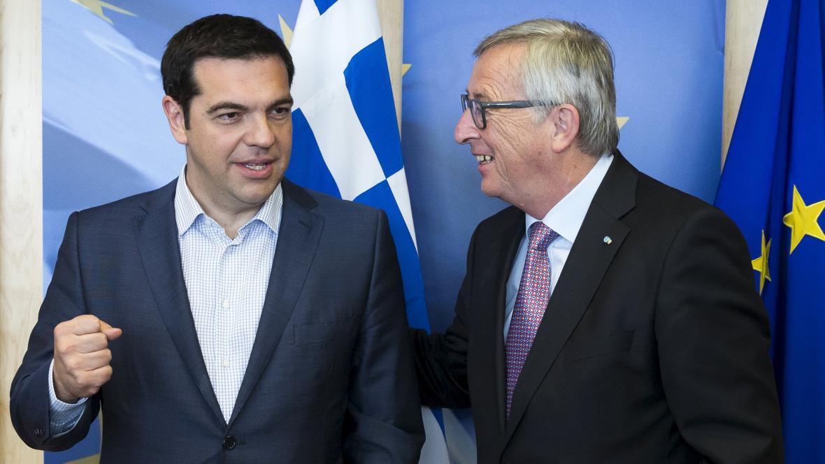 Řecký premiér Alexis Tsipras a šéf Evropské komise Jean-Claude Juncker