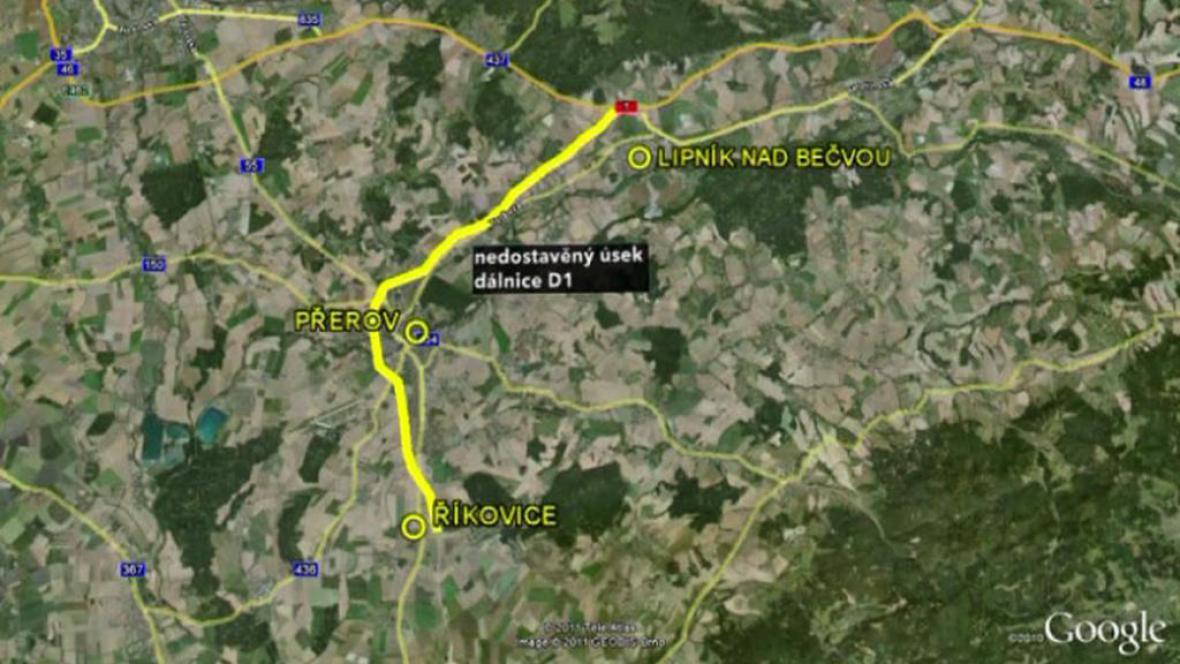 Nedostavěný úsek dálnice D1