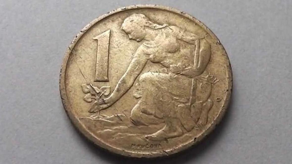 Jednokorunová mince s Bedřiškou Synkovou