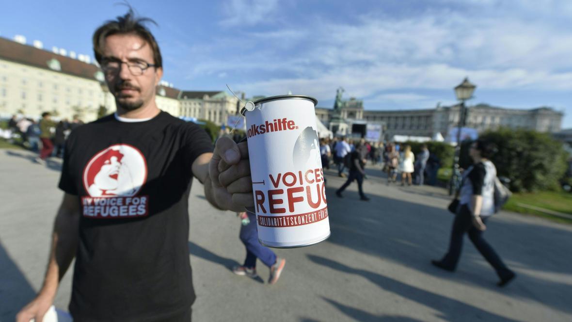 Sbírka na uprchlíky ve Vídni