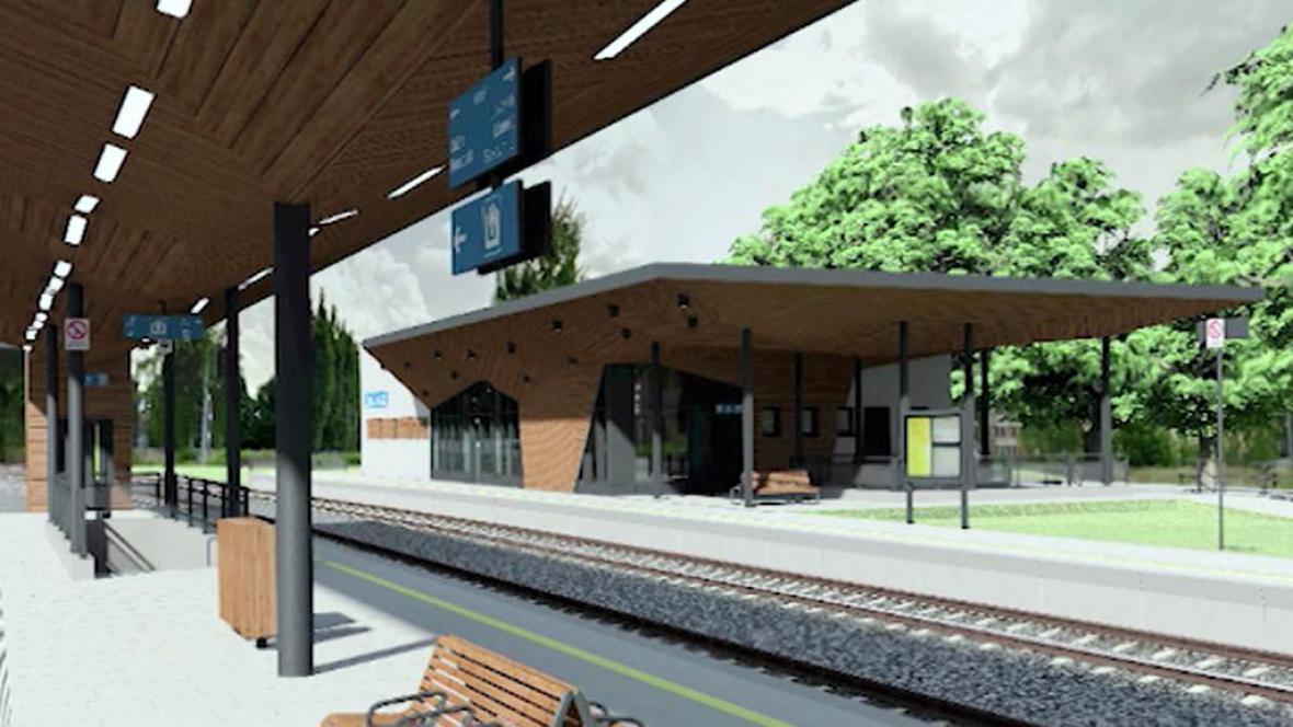 Vizualizace nádraží v České Lípě