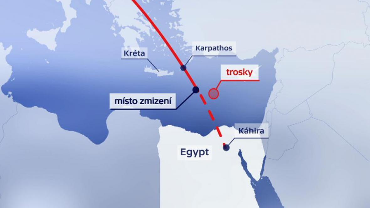 Trasa letu a místo nalezení trosek egyptského airbusu