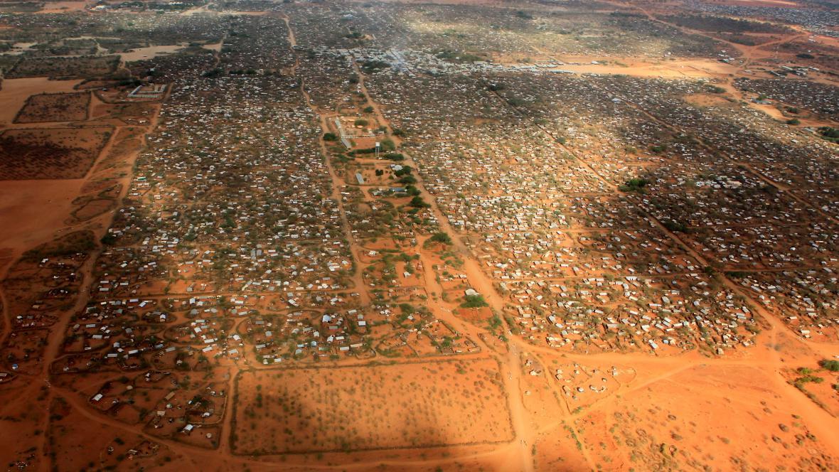 Letecký pohled na uprchlický tábor Dadaab