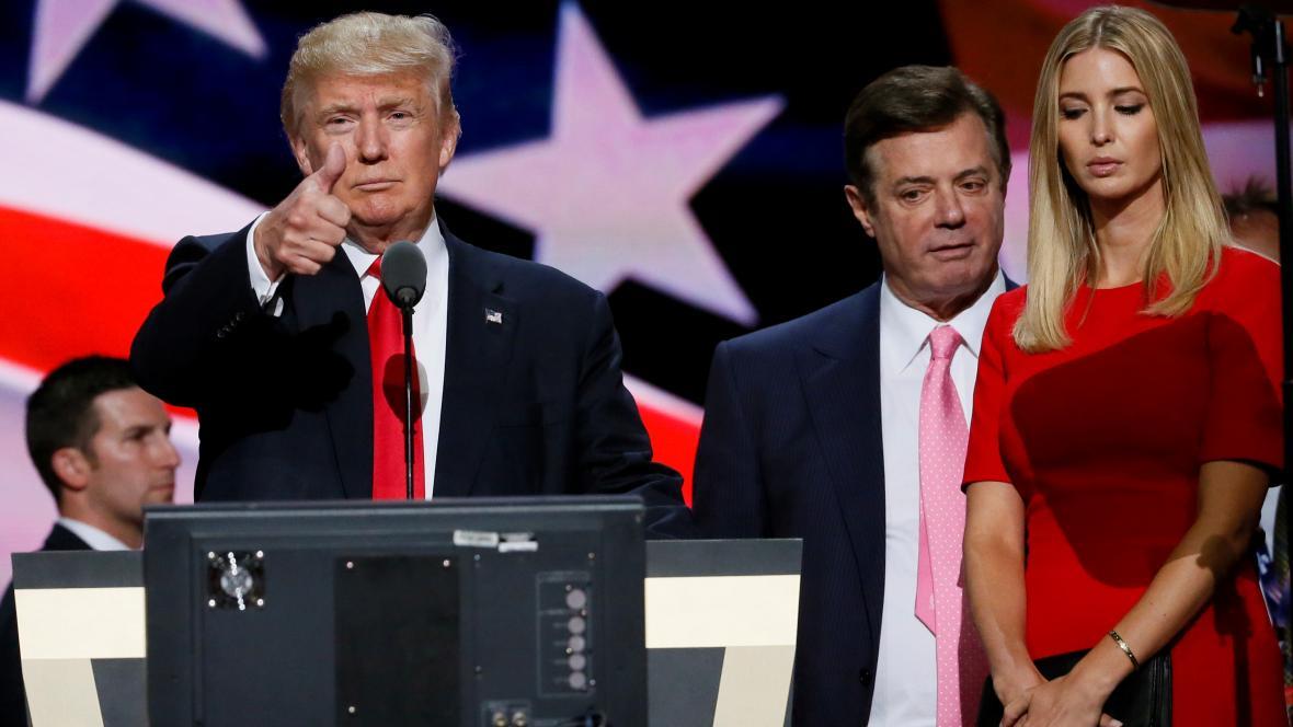 Donald Trump, Paul Manafort a Ivanka Trumpová