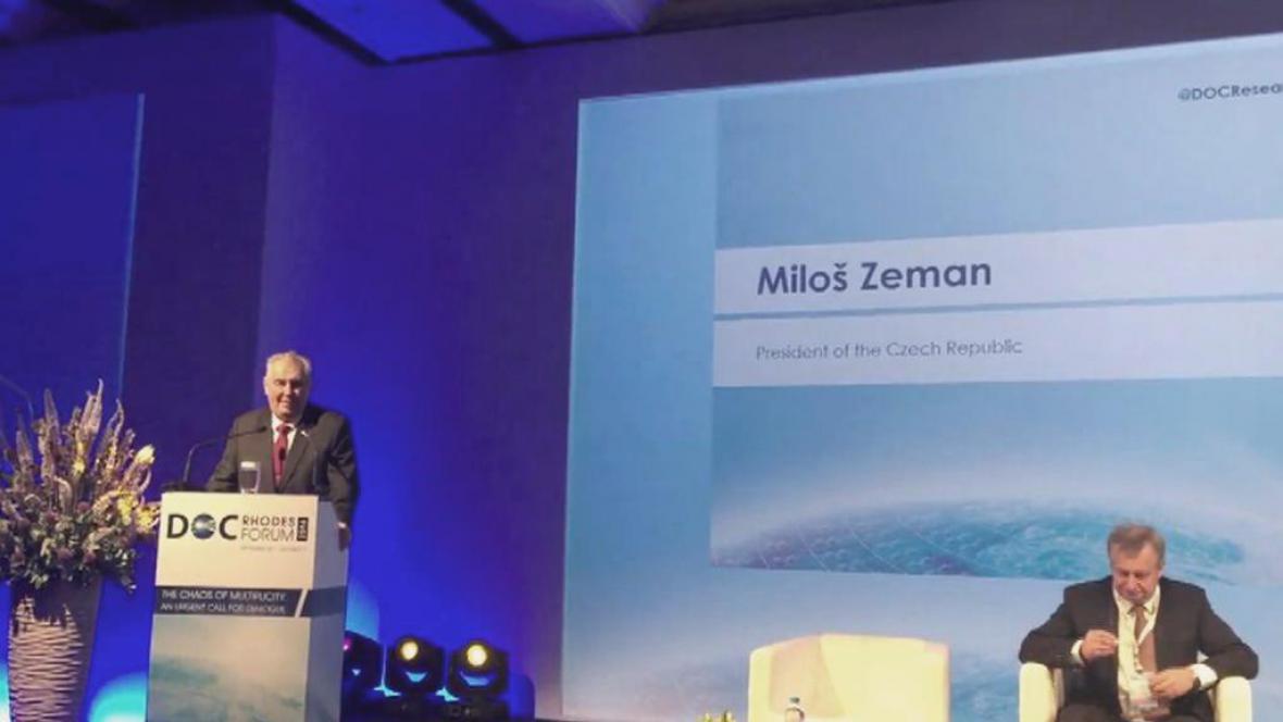 Miloš Zeman na rhodoské konferenci