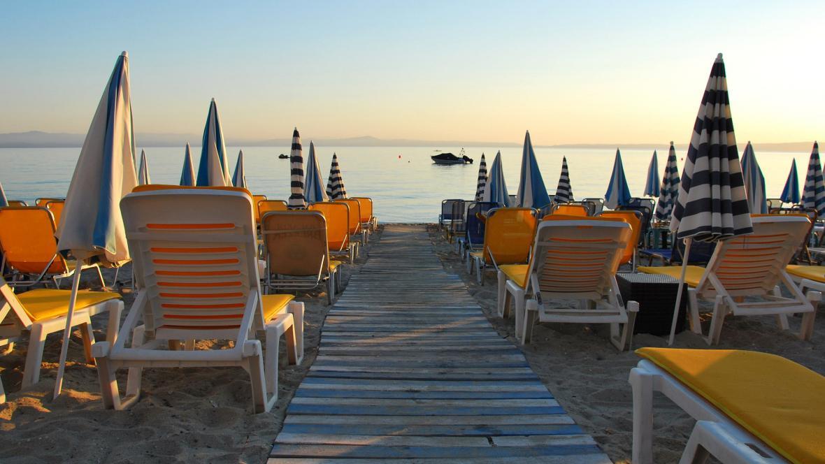 Pláže na poloostrově Chalkidiki v Řecku