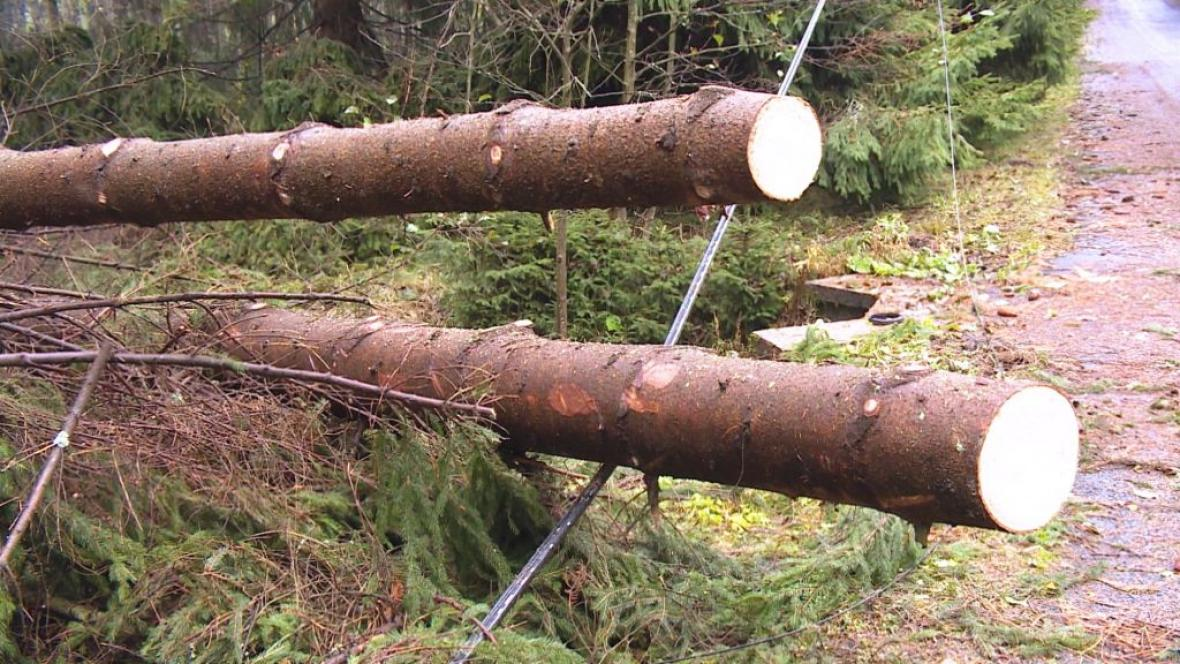 Vítr zpřetrhal vedení, mnohé obce v Krušných horách zůstávají bez spojení