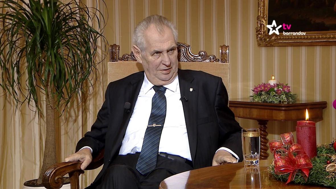 Prezident Miloš Zeman na TV Barrandov