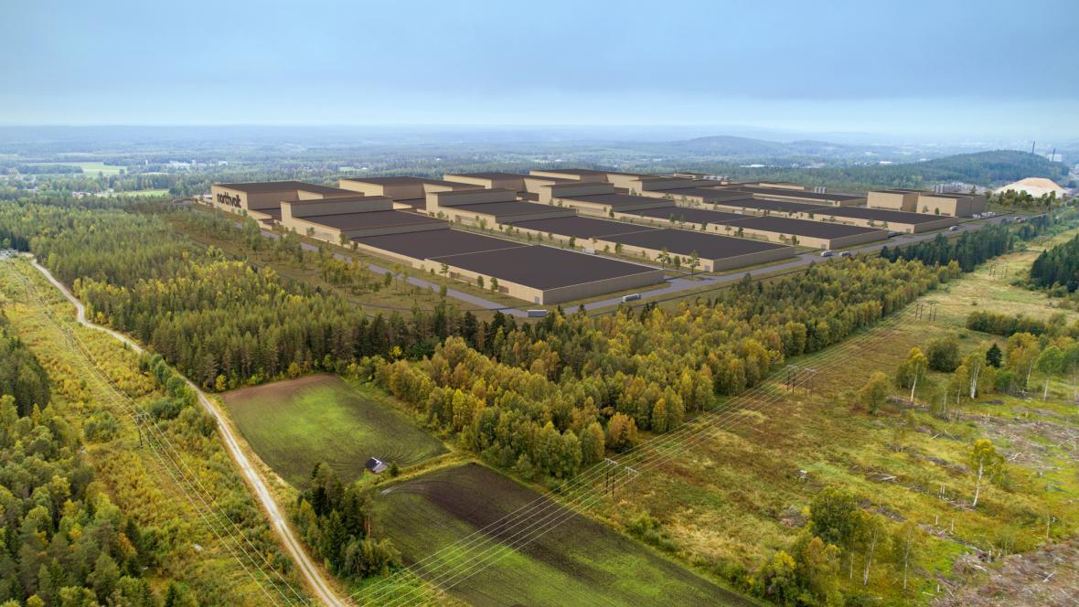 Vizualizace továrny na baterie Northvolt