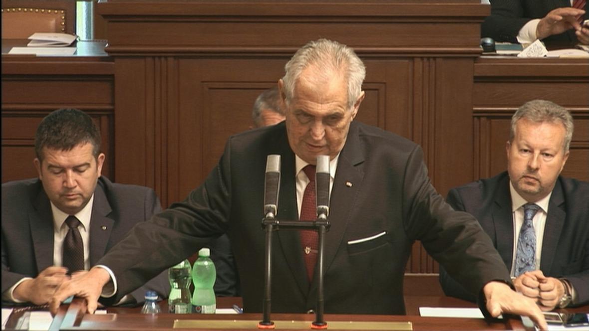 Projev prezidenta Miloše Zemana v Poslanecké sněmovně