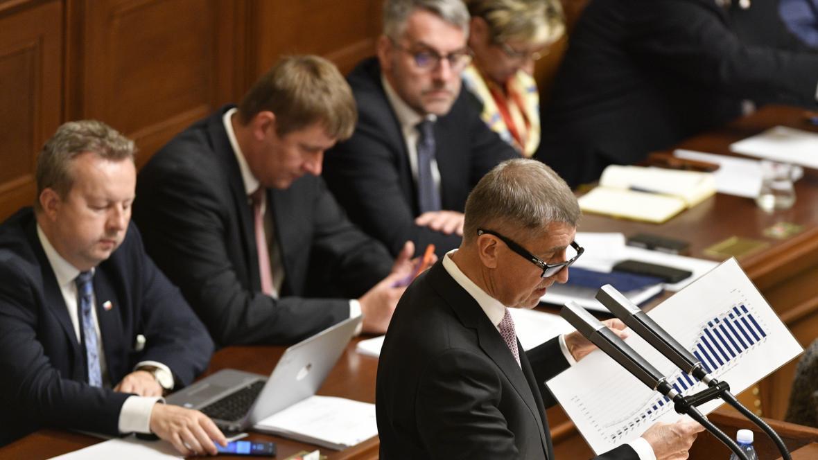 Premiér Andrej Babiš při jednání sněmovny o státním rozpočtu na rok 2019