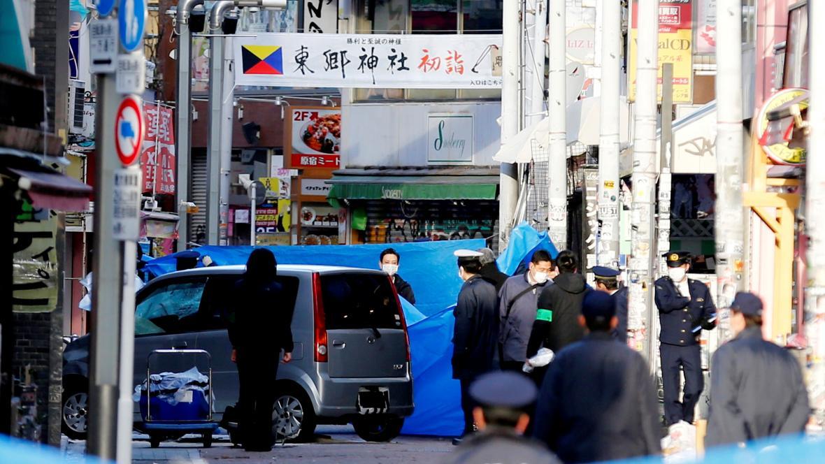 Policie na místě útoku v Tokiu