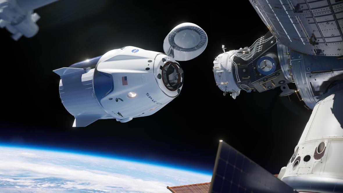 Vizualizace dokování lodi Crew Dragon k ISS