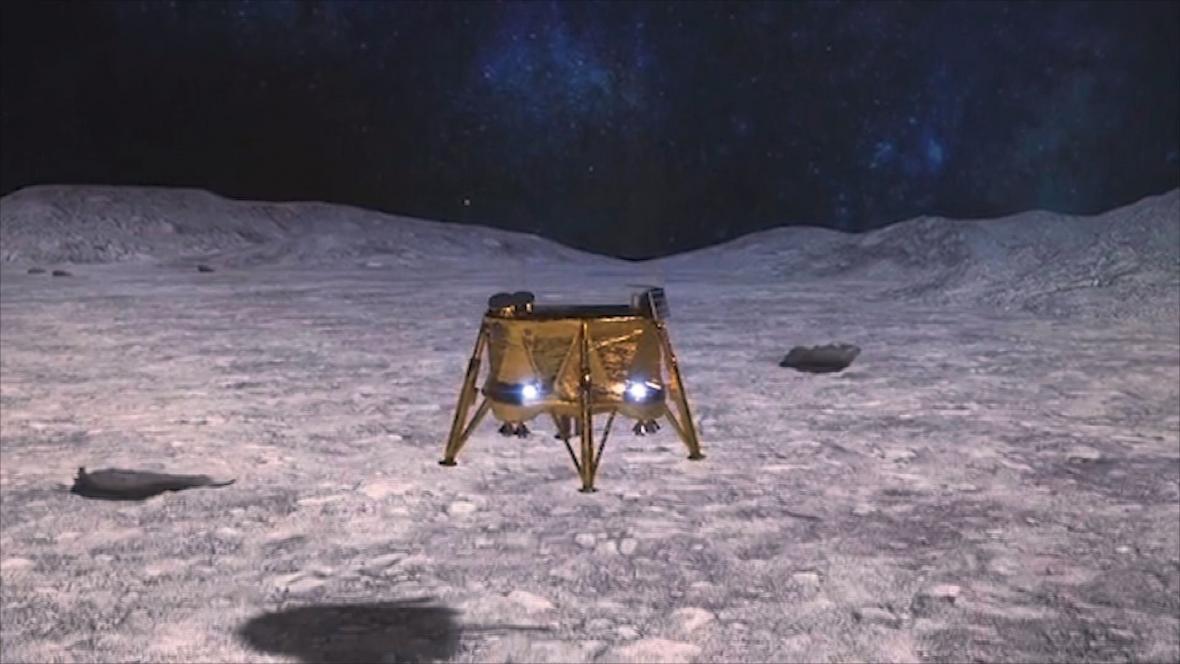 Vizualizace přistání sondy Berešit na povrchu Měsíce