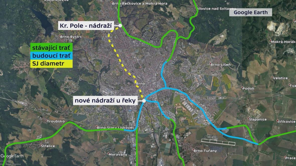 Možná trasa severojižního kolejového diametru