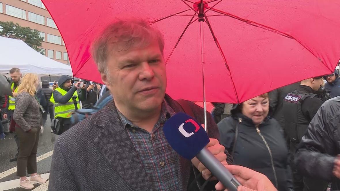 Sergej Mitrochin na sobotní demonstraci v Moskvě