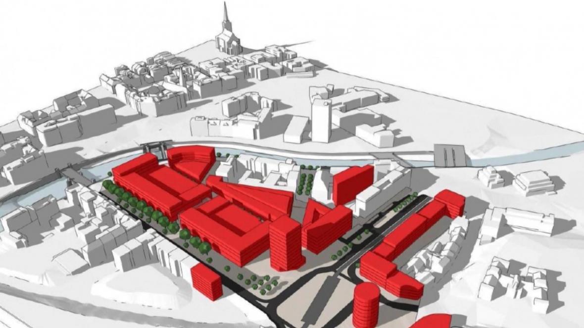 Vizualizace projektu na využití území po zbouraném domu kultury v Plzni