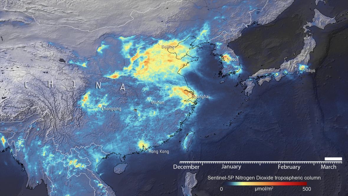 Emise NO2 nad Čínou